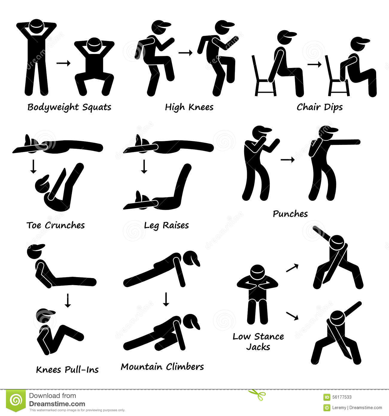 arm chair set body workout exercise fitness training set clipart human pictogram showing plank variation poses bodyweight squats
