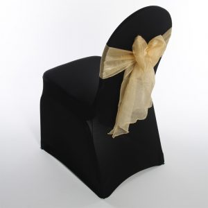 black chair covers gold