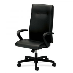 black desk chair hon ignition black leather high back rolling desk chair