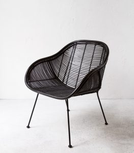 black rattan chair retro chair black