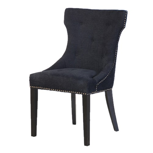 black upholstered dining chair