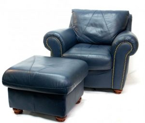 blue leather chair l