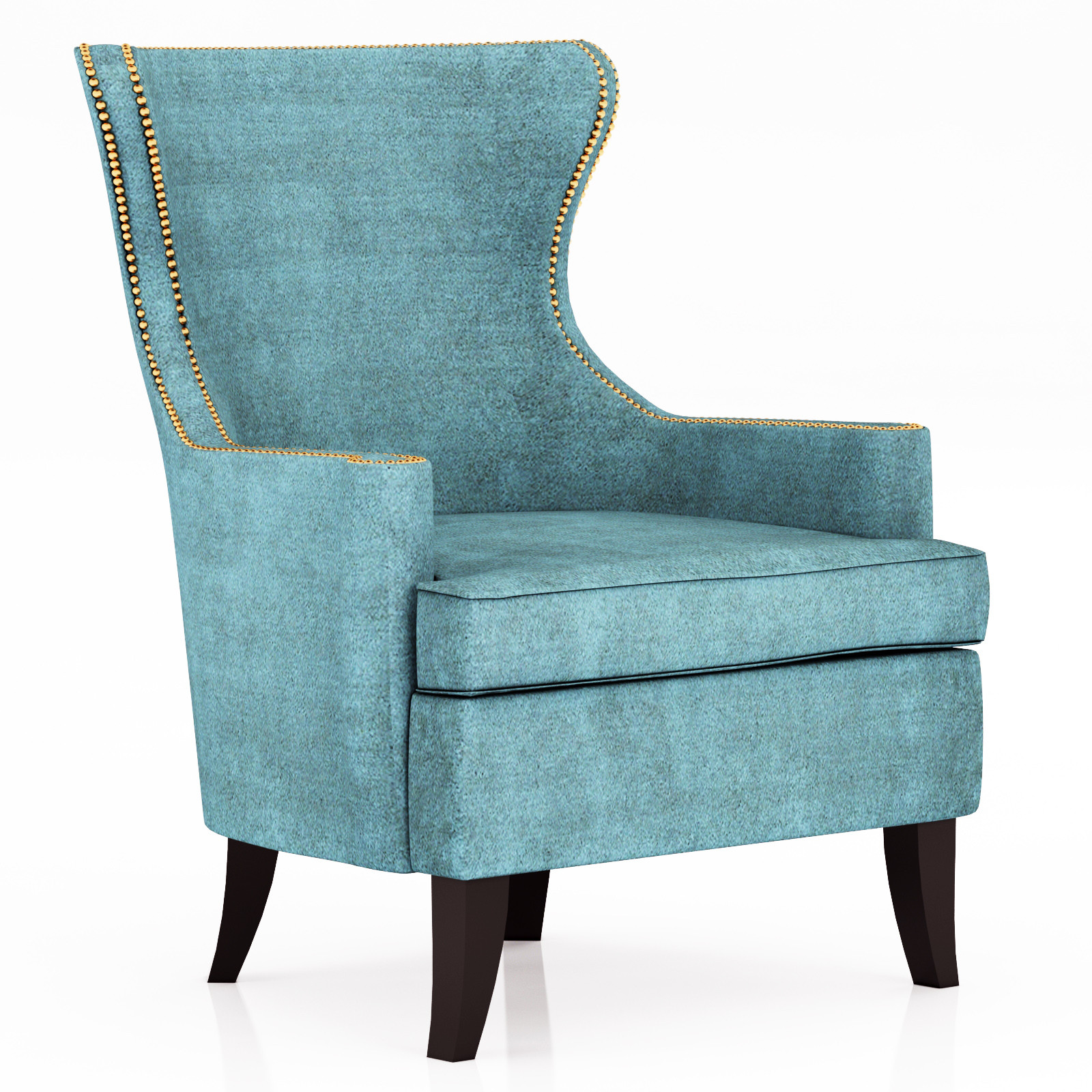 blue wingback chair