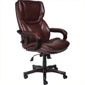 brown leather office chair l