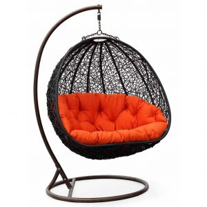 bubble chair with stand two can curl up dual sitting outdoor wicker swing chair
