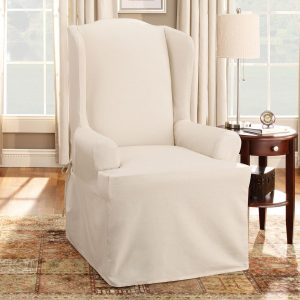 chair slip cover cotton duck wing chair natural