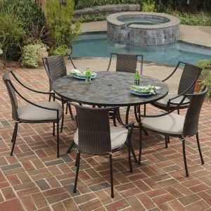 deck table and chair awesome round black stain stone patio tables with chairs near small pool
