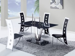 dinette table and chair gf black white kitchen set