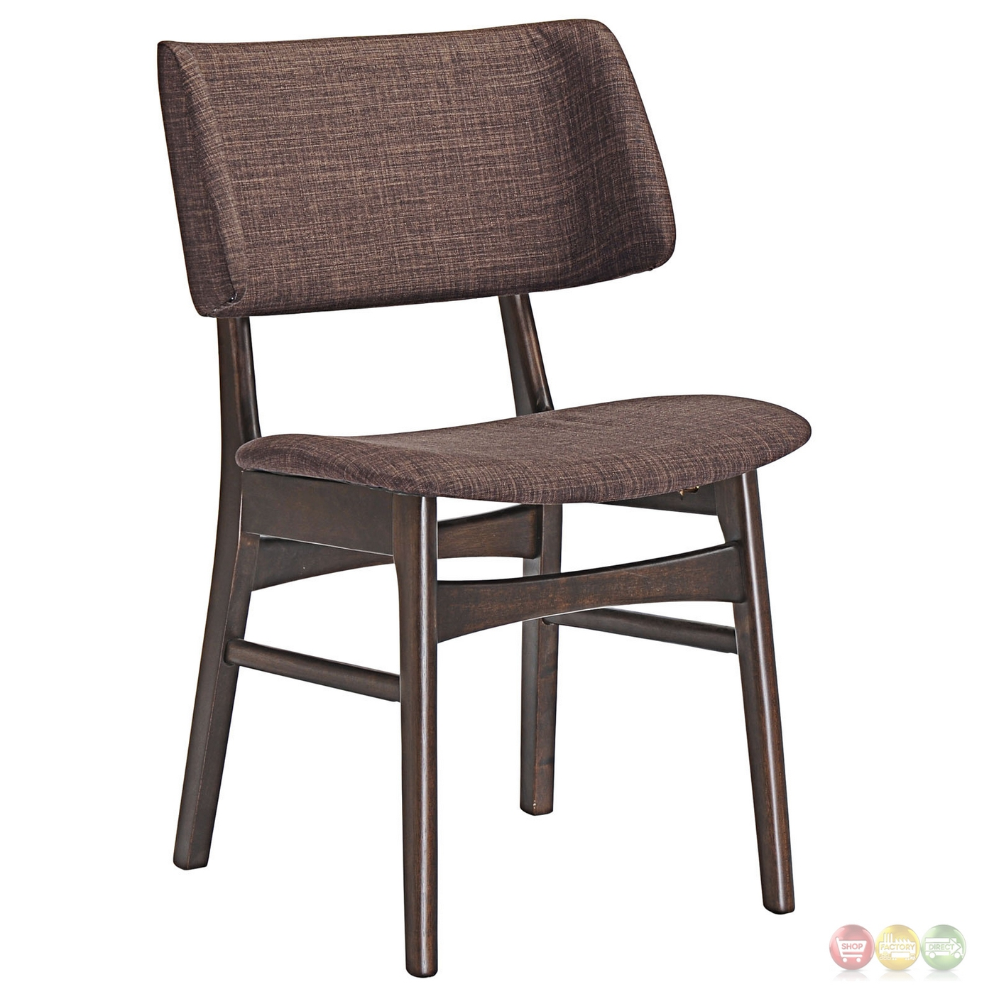 dining side chair set of vestige vintage dining side chair w linen upholstered seats walnut mocha