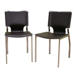 espresso dining chair baxton studio montclare brown leather modern dining chairs set of e ae f cfa