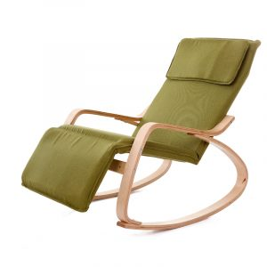 fabric rocking chair modern rocking chair fabric cushion natural finish adjustable footrest garden furniture comfortable relax lounge chair recliners