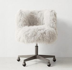 faux fur desk chair silver rollers off white shaggy desk chair