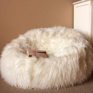 furry bean bag chair large shaggy ivory beanbag bean bag round x