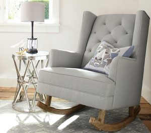 gray wingback chair media