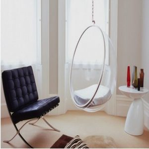 hanging inside chair beauty design of the swing chair indoor with glass seat part added with black leather seat and unique table