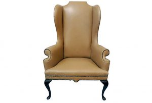 high back wing chair vintage tan high back wing chair