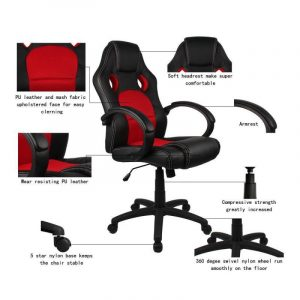homall racing chair homall racing chair ergonomic high back gaming chair pu leather and mesh bucket seatcomputer swivel lumbar support executive office chair red