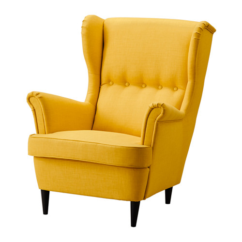 ikea wingback chair strandmon wing chair yellow pe s