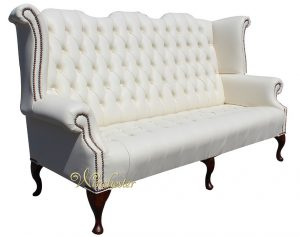 leather chesterfield chair chesterfield newby queen anne sofa buttoned seat cottonseed cream leather wc (colorbox)
