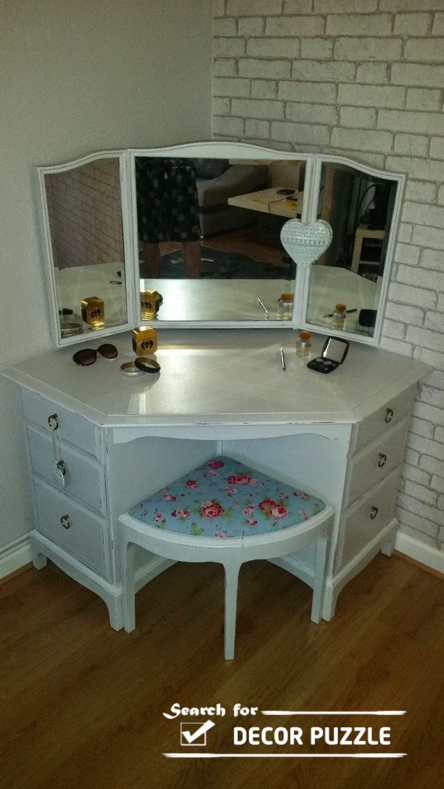 makeup table chair white corner dressing tabel with angular mirror