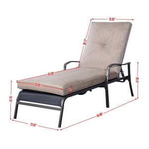 outdoor recliner chair outdoor patio adjustable cushioned pool chaise lounge chair recliner furniture