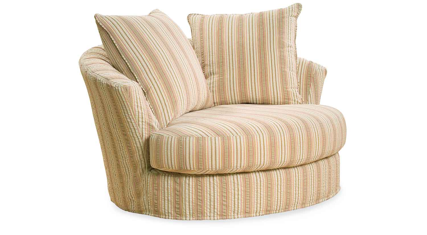 oversized round swivel chair striped fabric oversized round chair for accent living room