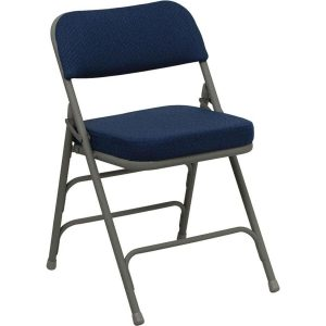 padded folding chair navy blue metal folding chair with padded fabric seat