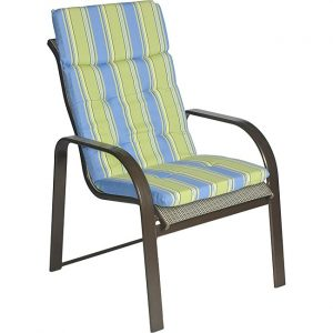 patio chair pads ali patio polyester blue stripe tufted hi back outdoor arm chair cushion l