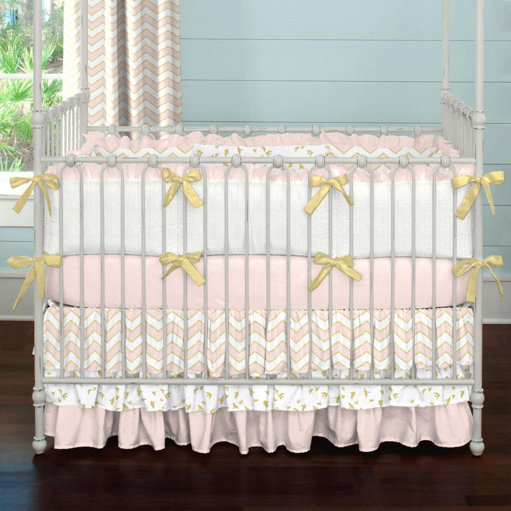 pink chair covers pale pink and gold chevron two piece crib bedding set large()