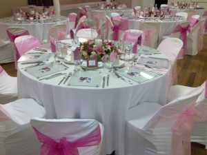 pink chair covers so