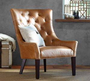 pottery barn leather chair media