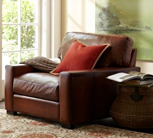 pottery barn leather chair turner