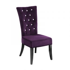 purple dining room chair paparazzi purple velvet crystal buttoned dining chair pair p