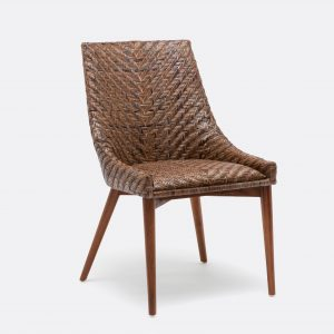 rattan dining chair dark