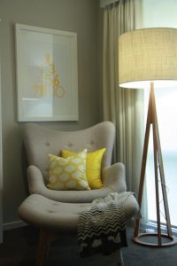 reading chair for bedroom half seating reading chair for bedroom at the corner with unique standing lamp and yellow cushions and blanket plus picture on wall decoration