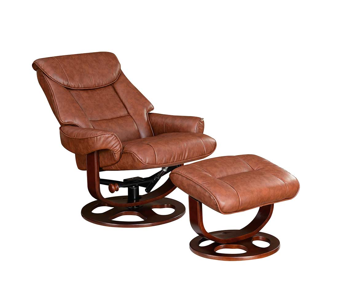 reclining chair with ottoman recliner swivel ottoman brown leather co b