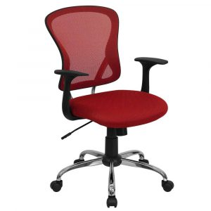 red desk chair red mesh swivel office chair for executive