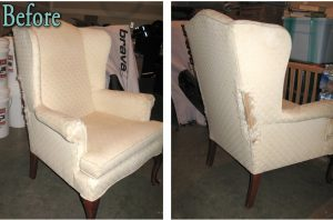 reupholster wingback chair before