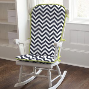 rocking chair pads navy and citron zig zag rocking chair pad large