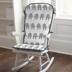 rocking chair pads navy and gray elephants rocking chair pad large