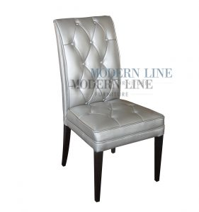 silver dining chair contemporary button tufted silver leather dining chair