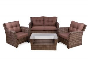 sofa and chair set reclining rattan outside set for people cappuccino colour
