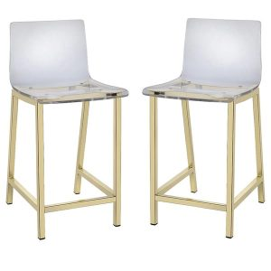 steel dining chair pure decor clear acrylic counter stool set of caea c cdf ba b