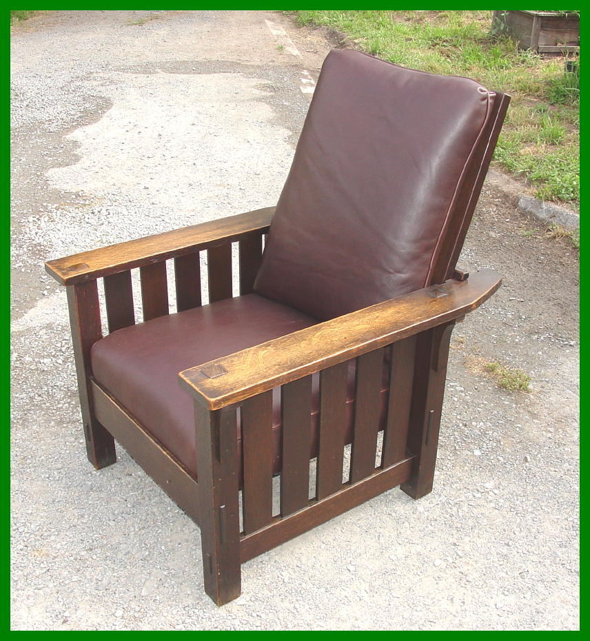 stickley morris chair original l & j g stickley handcraft morris chair with slats to the floor