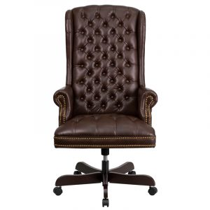 tufted office chair high back traditional tufted brown leather executive office chair ci brn gg