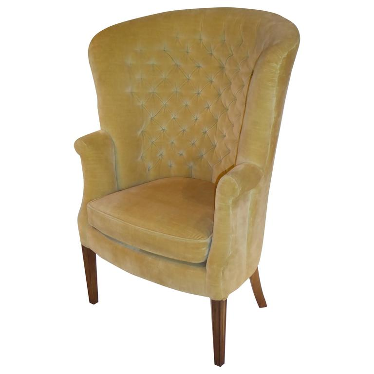 velvet tufted chair l