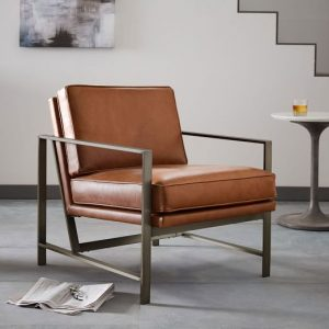 west elm leather chair metal frame leather chair c
