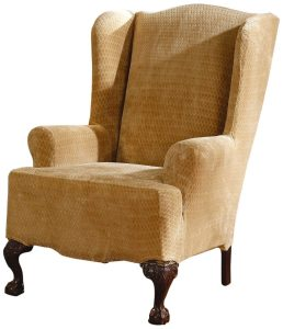 wingback chair slipcover sure fit stretch royal diamond wing slipcover gold