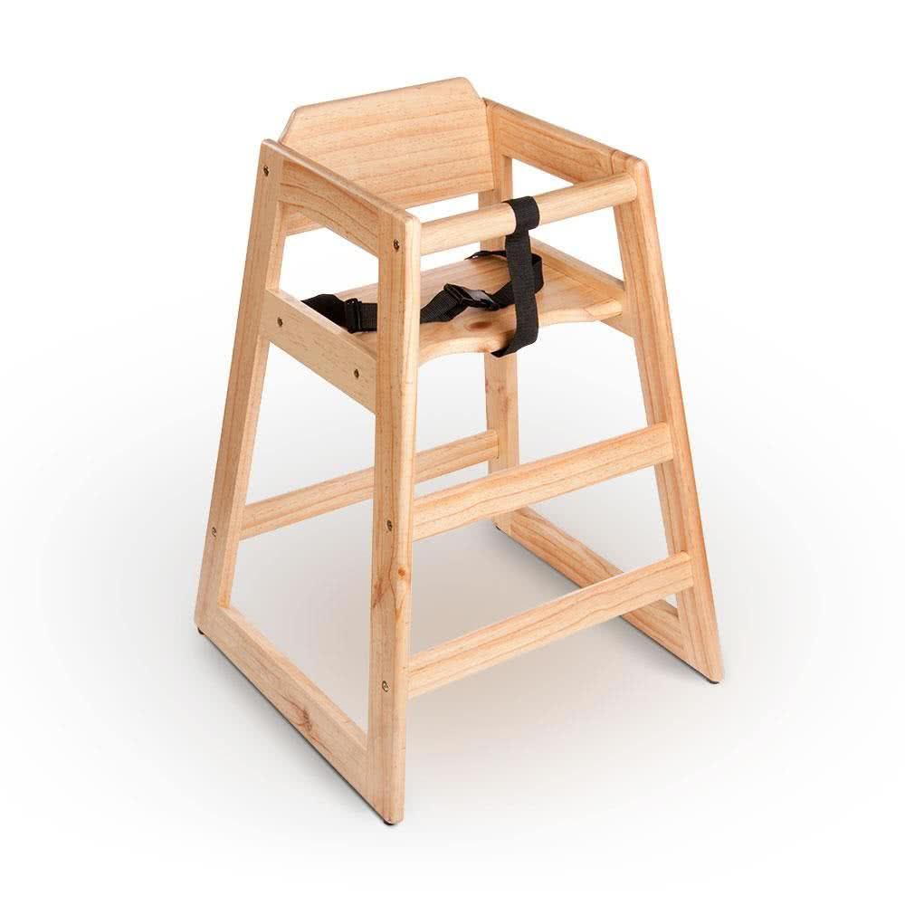 wooden high chair stacking restaurant wood high chair with natural finish assembled