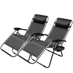 zero gravity patio chair xtremepowerus gravity adjustable reclining chair pool patio outdoor lounge chairs set of pair black